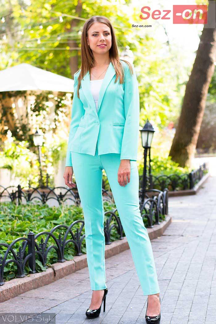 Костюм женский классический брюки и пиджак - Бирюзовый - Sez On - Ваш сезон успешных покупок. в Одессе