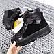 Зимние черные ботинки на шнуровке и липучке натуральная кожа+замша, фото 8