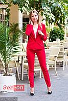 Костюм женский классический брюки и пиджак - Красный