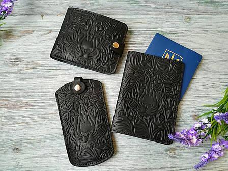 Подарочный набор из натуральной кожи черный лев (3 предмета), фото 2