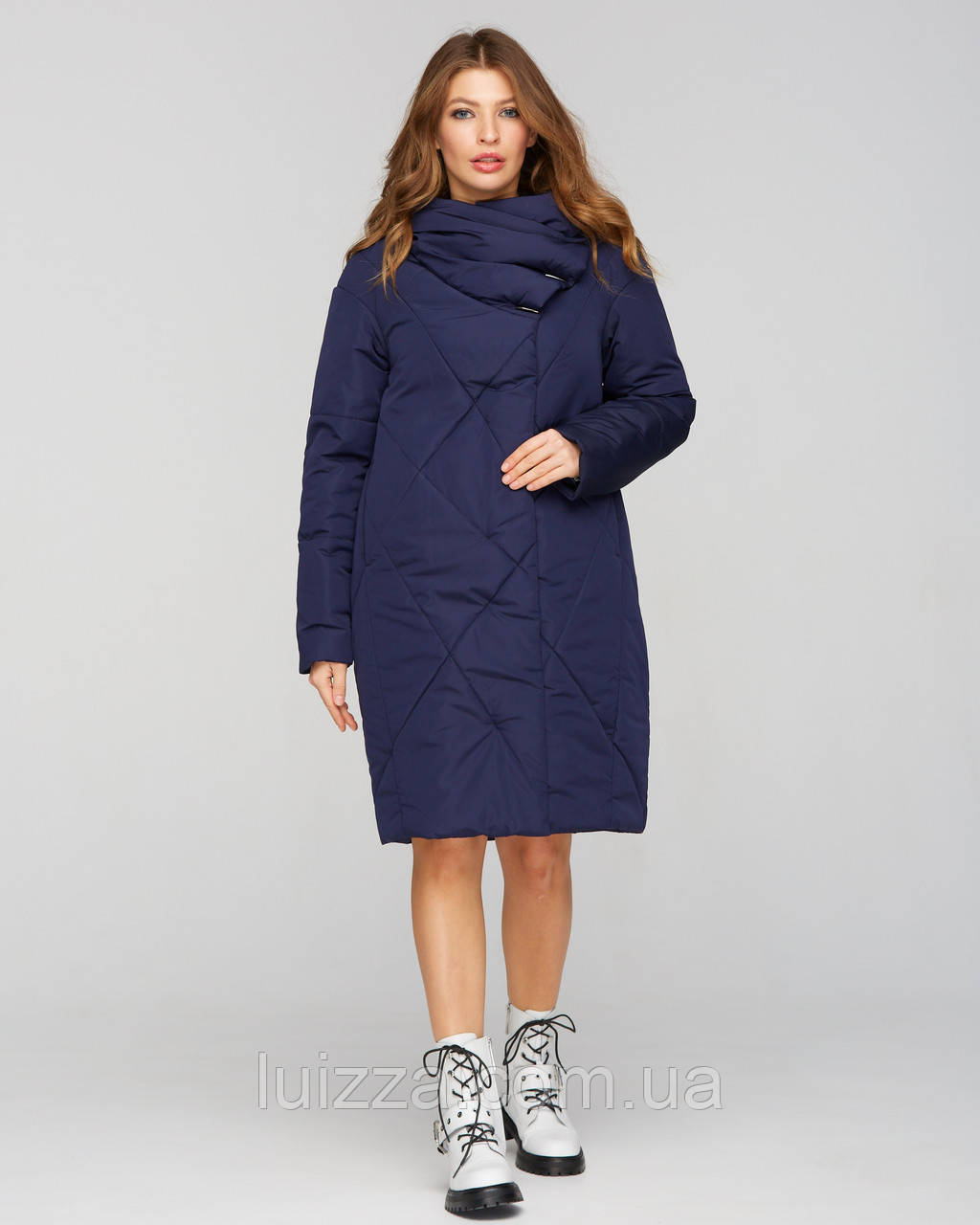Женская демисезонная куртка назапах синяя 42-50р