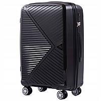 Дорожный чемодан пластиковый полипропилен Wings PP06 маленький на 4 колесах черный