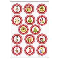 Капкейки-6 см Новогодние с кружевом вафельная картинка