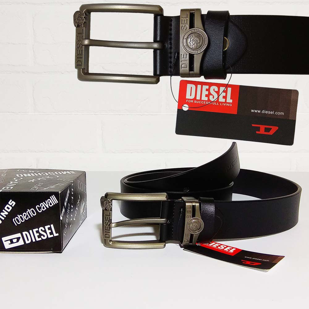 Ремень мужской из натуральной кожи Diesel, дизель. Черный