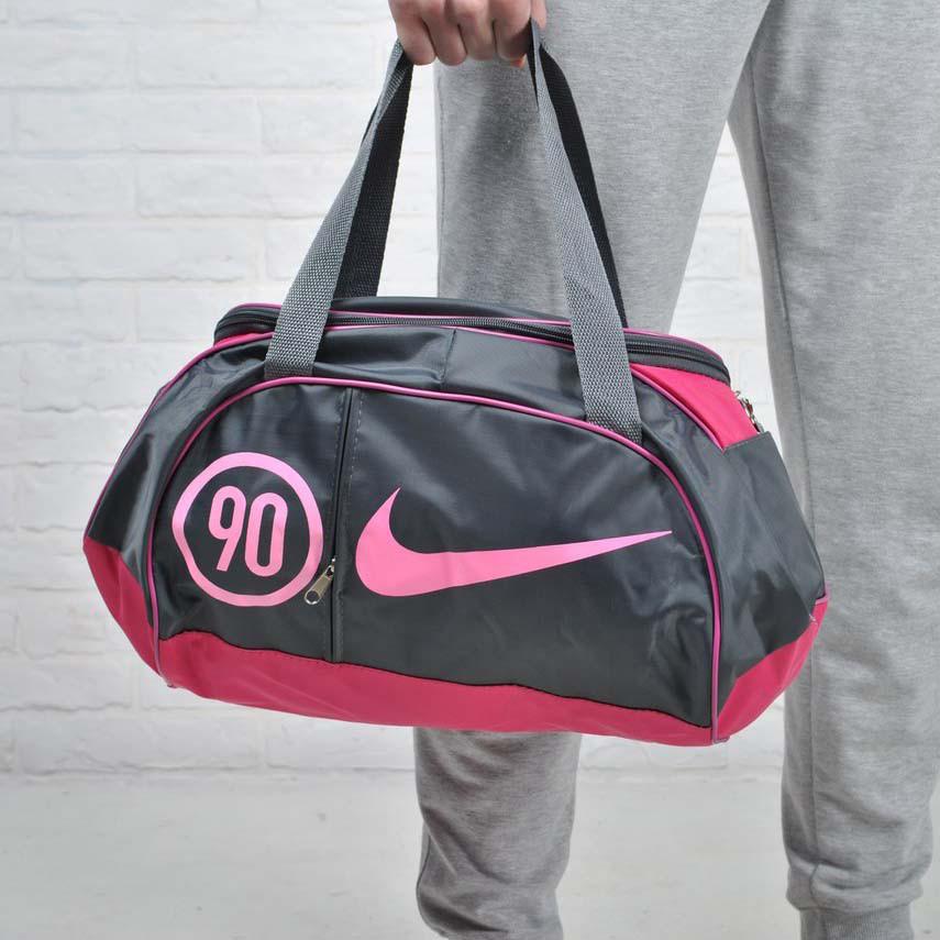 Жіноча сумка найк, Nike для спорту, фітнесу з плечовим ременем. Сіра з рожевим.