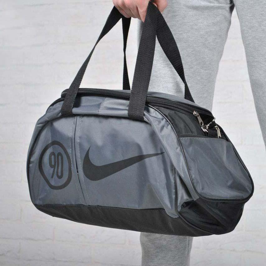 Сумка найк, Nike 90 спортивна з плечовим ременем. Сіра з чорним.
