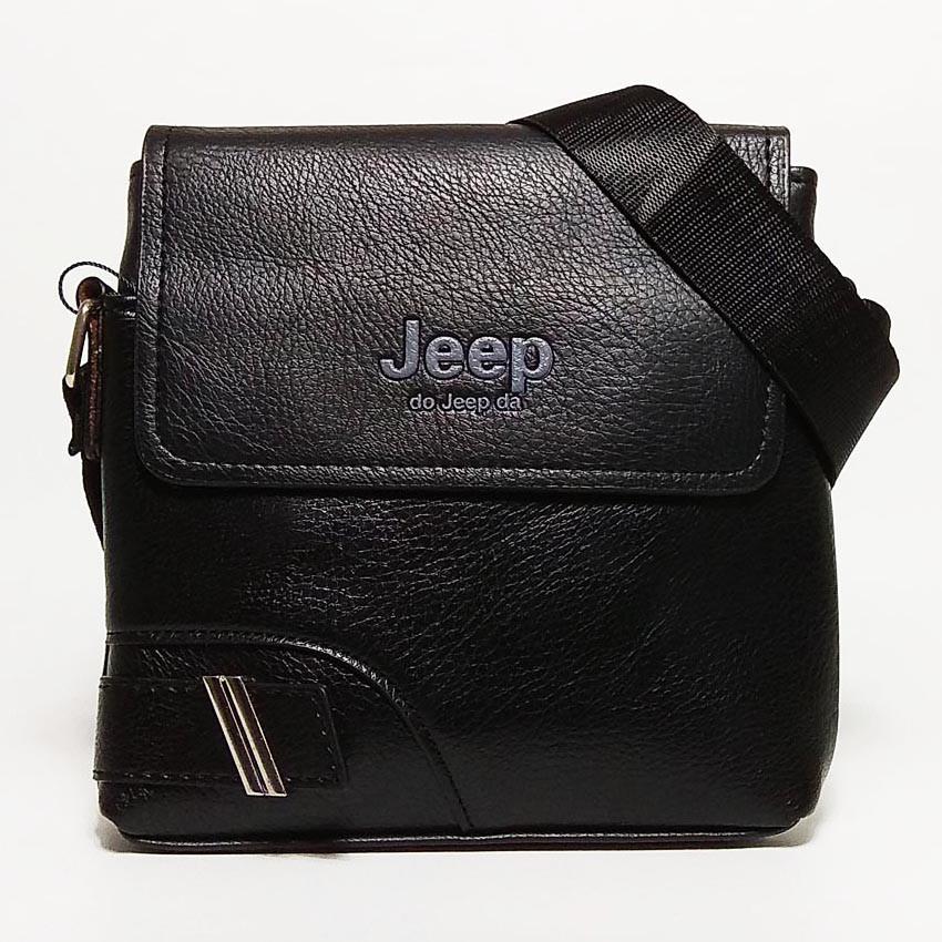 Чоловіча сумка через плече Jeep. Чорна. 21см х 19см / Шкіра PU. 559 black