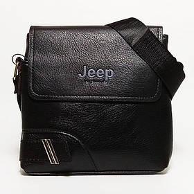 Мужская сумка через плечо Jeep. Черная. 21см х 19см / Кожа PU. 559 black