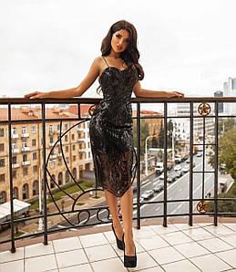 Коктейльное платье-футляр на бретелях с пайетками 42-46 р