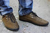 Мокасины мужские оливковые на шнурках
