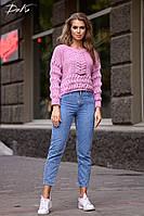 Оригинальный вязаный женский свитерок молочного и сиреневого цвета.