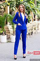 Костюм женский классический брюки и пиджак - Синий