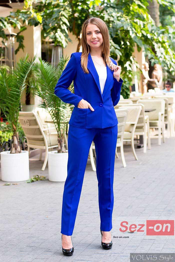 Костюм женский классический брюки и пиджак - Синий - Sez On - Ваш сезон успешных покупок. в Одессе