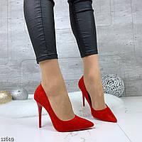 Женские замшевые туфли лодочки красные =Los_k=
