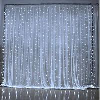 Гирлянда Водопад 2*2м 240LED штора занавес белый холодный новогодняя