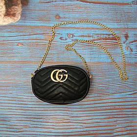 Женская бананка, поясная сумка гучи, Gucci, кроссбоди. Черная / 2160