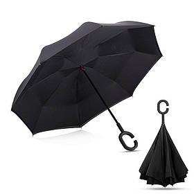 Черный зонт-трость Up-Brella, антидождь, зонт наоборот с двойным куполом.