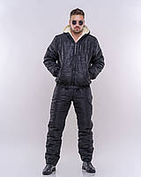 Мужской зимний теплый спортивный костюм плащевка на силиконе черный 44 46 48 50 52, фото 1