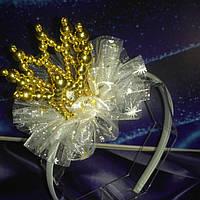Обруч Золотая коронка с фатином на Новый год