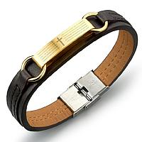 Кожаный браслет со вставками из нержавеющей стали, фото 1