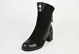 Ботинки на каблуке DS 2025 кожа/замша