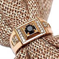Кольцо xuping 21р 9мм печатка мужская медзолото позолота 18К м339