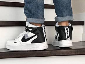 Мужские демисезонные кроссовки Nike Air Force,белые с черным, фото 3