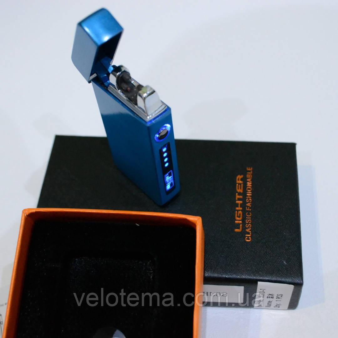 Электроимпульсная зажигалка двойная молния в подарочной упаковке USB