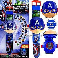 Проекционные детские часы Капитан Америка - 24 вида изображения героев .Projector Watch. Отличный Подарок !