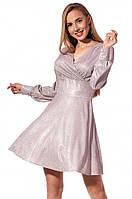 Вечернее платье розового цвета с люрексом. Модель 1211. Размеры 46,48