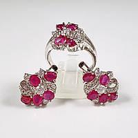 Комплект серебряных ювелирных украшений кольцо серьги с натуральными рубинами и фианитами