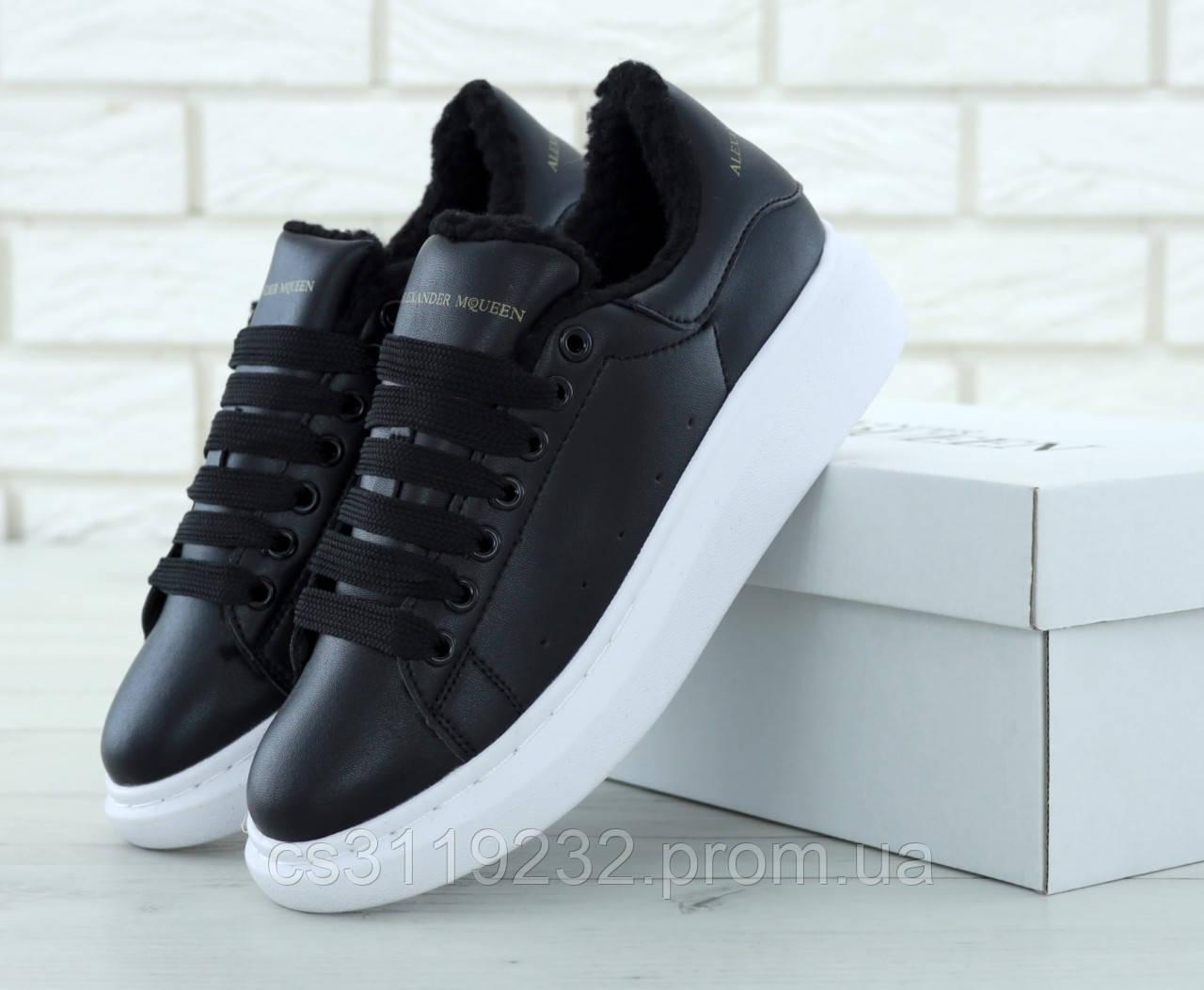 Женские кроссовки черные (мех) (черные)