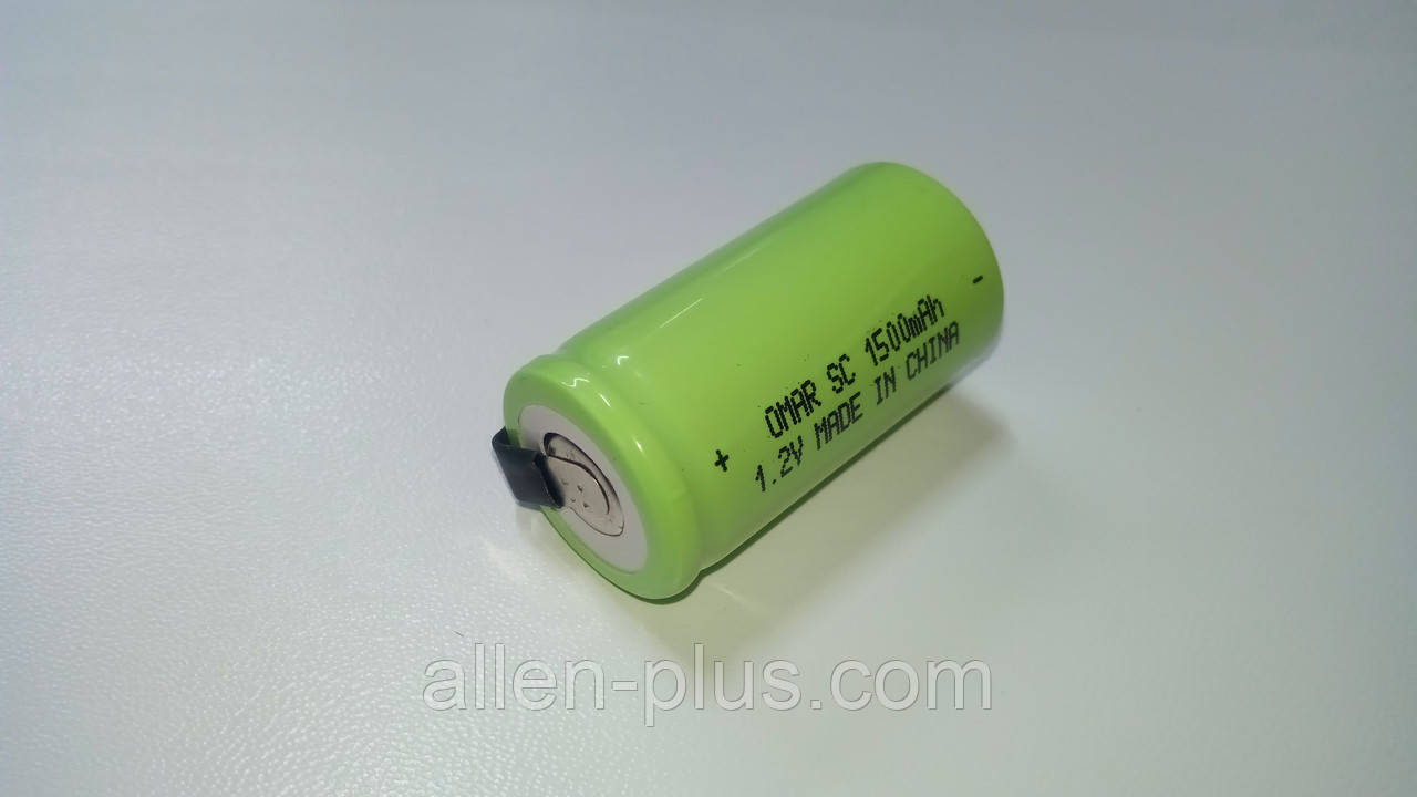 Акумулятор Ni-Cd SC 1.2 V 1500 mAh з пелюстками, розмір 23 мм * 43 мм