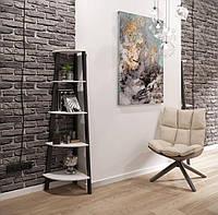 Стойка книжная 5 полок Призма на металлокарксе стиль Лофт Металл-Дизайн 1640х420х420