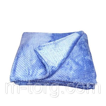 """Голубой""Плед евро размер 200/230, микрофибра, фото 2"