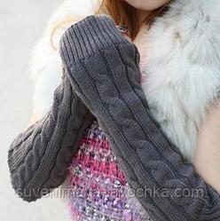 Теплые вязаные перчатки без пальцев (митенки - красный, белый)