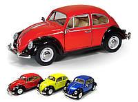 "Модель легковая 7"" KT7002WE Volkswagen Classical Beetle (Black Fender) метал.инерц.откр.дв."