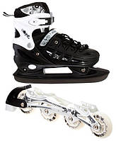 Роликовые коньки - ледовые коньки 2 в 1 Scale Sport, раздвижные, р. 34-37, черные, фото 1