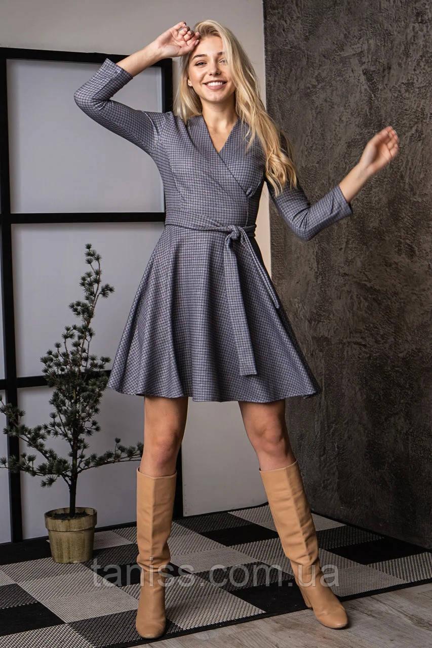 Нарядное деловое платье, трикотаж с люрексом, средней длины, на запах, р.44,46,48 синяя клетка  (736) сукня