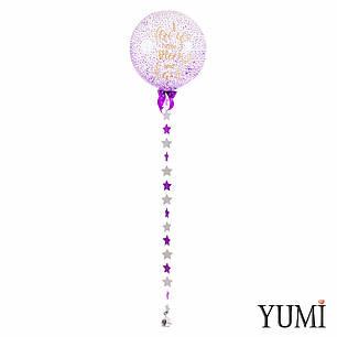 Большой шар для любимого человека с декором звездочки и романтической надписью I love you to the moon and back, фото 2