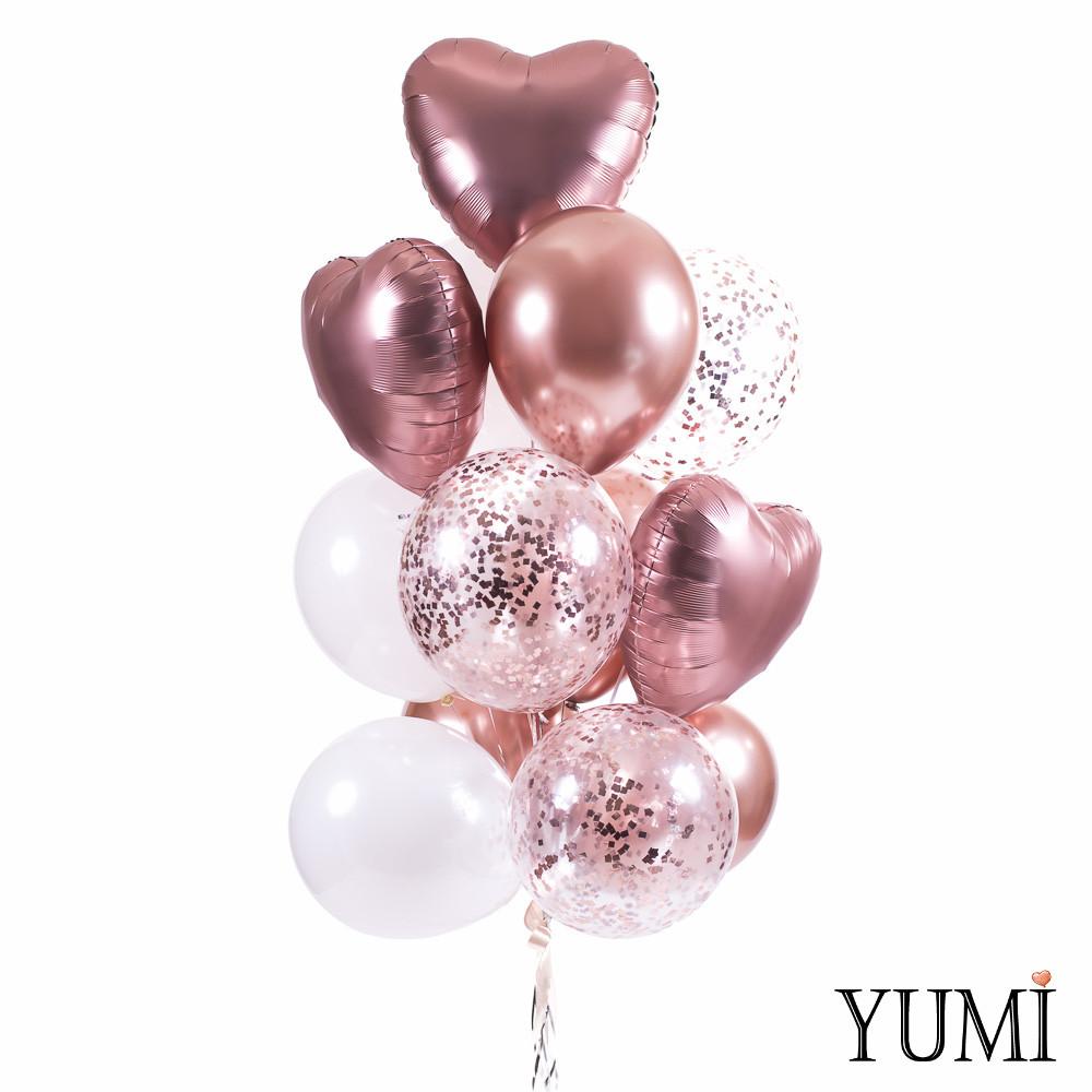Связка: 4 хром розовое золото, 3 белых зеркальных, 3 с конф розовое золото, 3 сердца сатин розовое золото