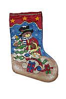 Носок рождественский для подарков с мишкой и снеговиком