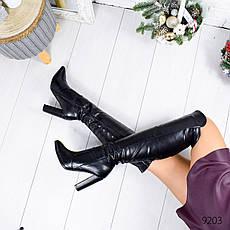 """Ботфорты женские демисезонные черного цвета из эко кожи """"9203"""". Сапоги женские демисезонные. Сапоги ботфорты, фото 3"""