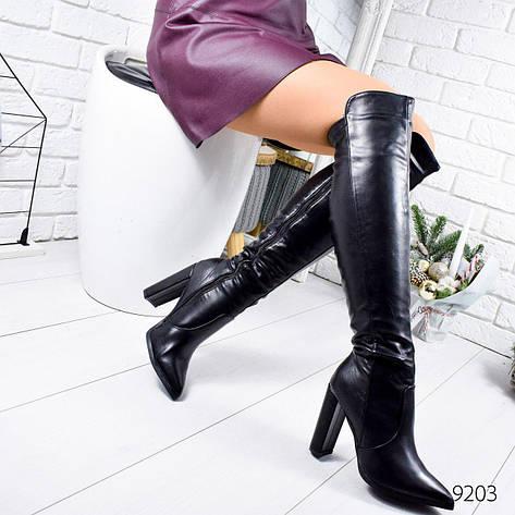 """Ботфорты женские демисезонные черного цвета из эко кожи """"9203"""". Сапоги женские демисезонные. Сапоги ботфорты, фото 2"""