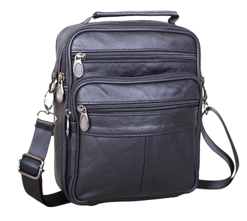 Мужская кожаная сумка 40202 черная