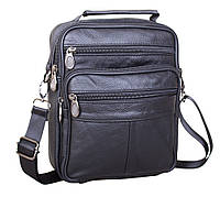 Мужская кожаная сумка Dovhani Black202 Черная