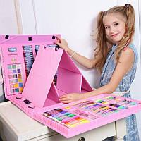 Набор для рисования для художника в кейсе с мольбертом 176 предметов  (розовый)