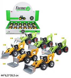 Модель трактор дитячий MY66-029 (216шт/2) метал., інерц., 6 видів, 12 шт., в кор. 44*6,5*39,5 см