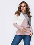 Стильный базовый свитер прямого кроя  трехцветный, фото 6