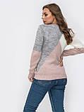Стильный базовый свитер прямого кроя  трехцветный, фото 8